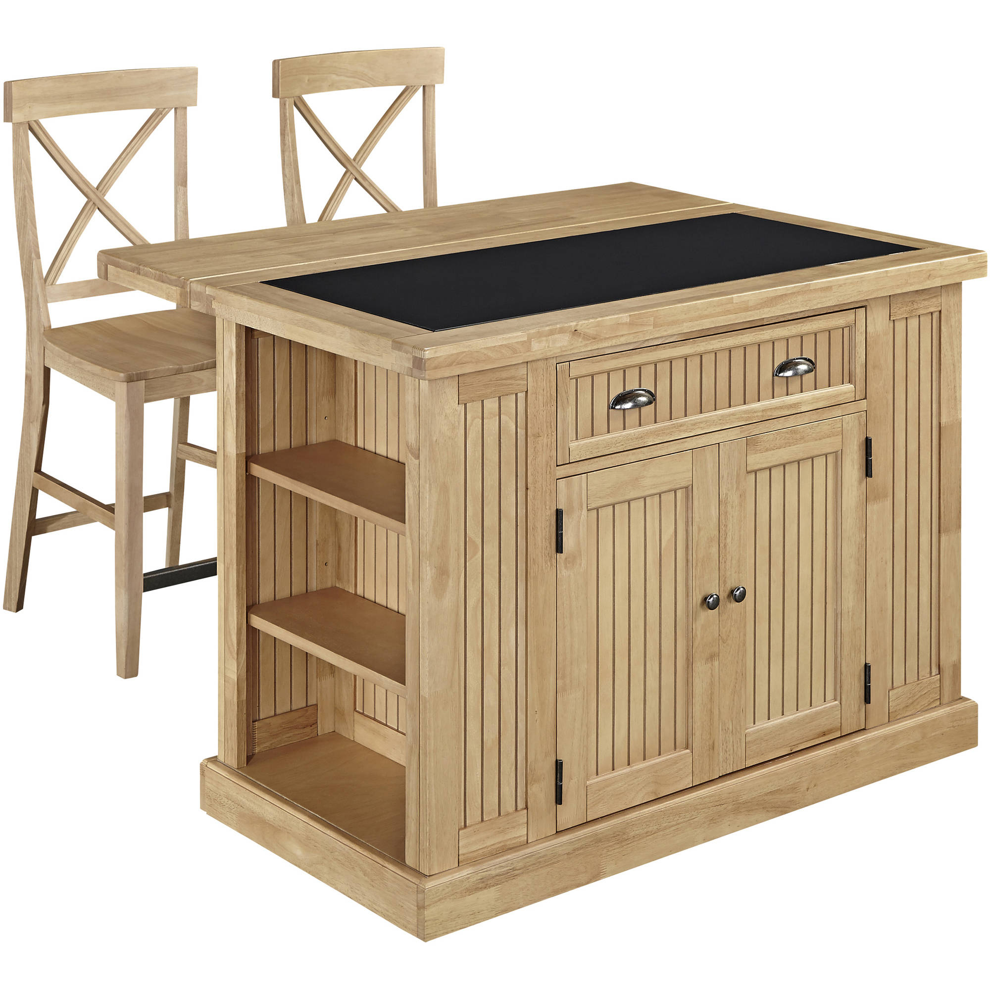 Nantucket Natural Kitchen Island with Granite Top and 2