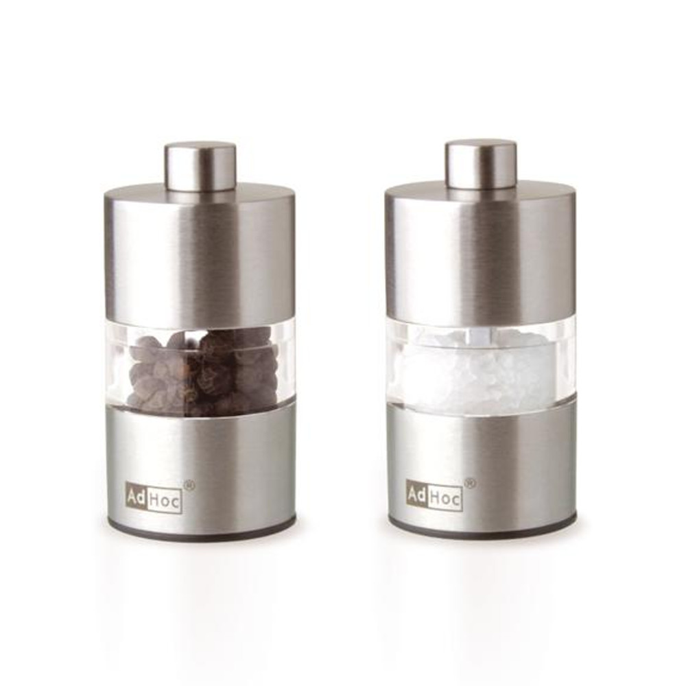 Browne Stainless Steel 2.4 x 1.3 Inch Mini Salt and Pepper Mill Set by AdHoc