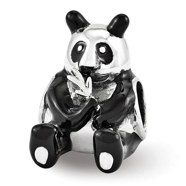 Reflection Beads QRS3377 Sterling Silver Black Enamel Mama Panda Bead - Polished & Antiqued - image 1 of 1