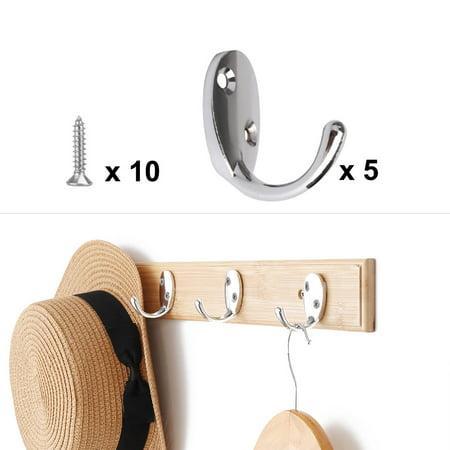 5pcs Wall Hooks Stainless Steel Hook Coat Wall DIY Hanger w Screws Silver Tone - image 6 of 7