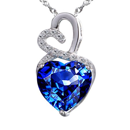 Cheap Blue Necklaces (Devuggo Infinity 4.0 Carat TCW  Heart Cut Gemstone Created Blue Sapphire 925 Sterling Silver Necklace Pendant with free 18