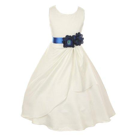 Little Girls Ivory Blue Bridal Dull Satin Sequin Flowers Occasion Dress 2