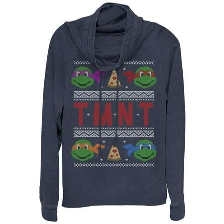 Teenage Mutant Ninja Turtles Juniors' Ugly Xmas Cowl Neck Sweatshirt