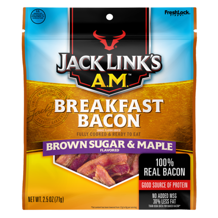 (2 Pack) Jack Links AM Breakfast Bacon, Brown Sugar & Maple, 2.5oz - Bacon Maple Cupcakes