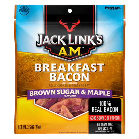 (2 Pack) Jack Links AM Breakfast Bacon, Brown Sugar & Maple, 2.5oz