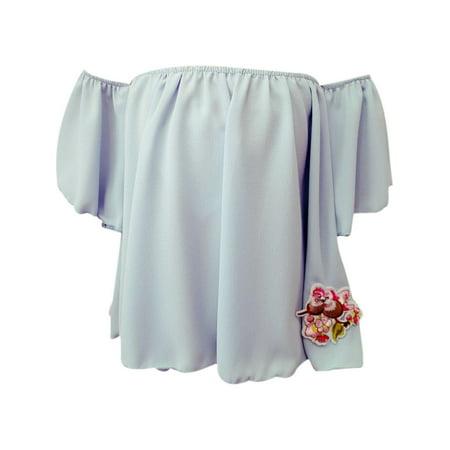 Girls Blue Flower Patch Off Shoulder Large Sleeve Blouse - Flower Girl Tops