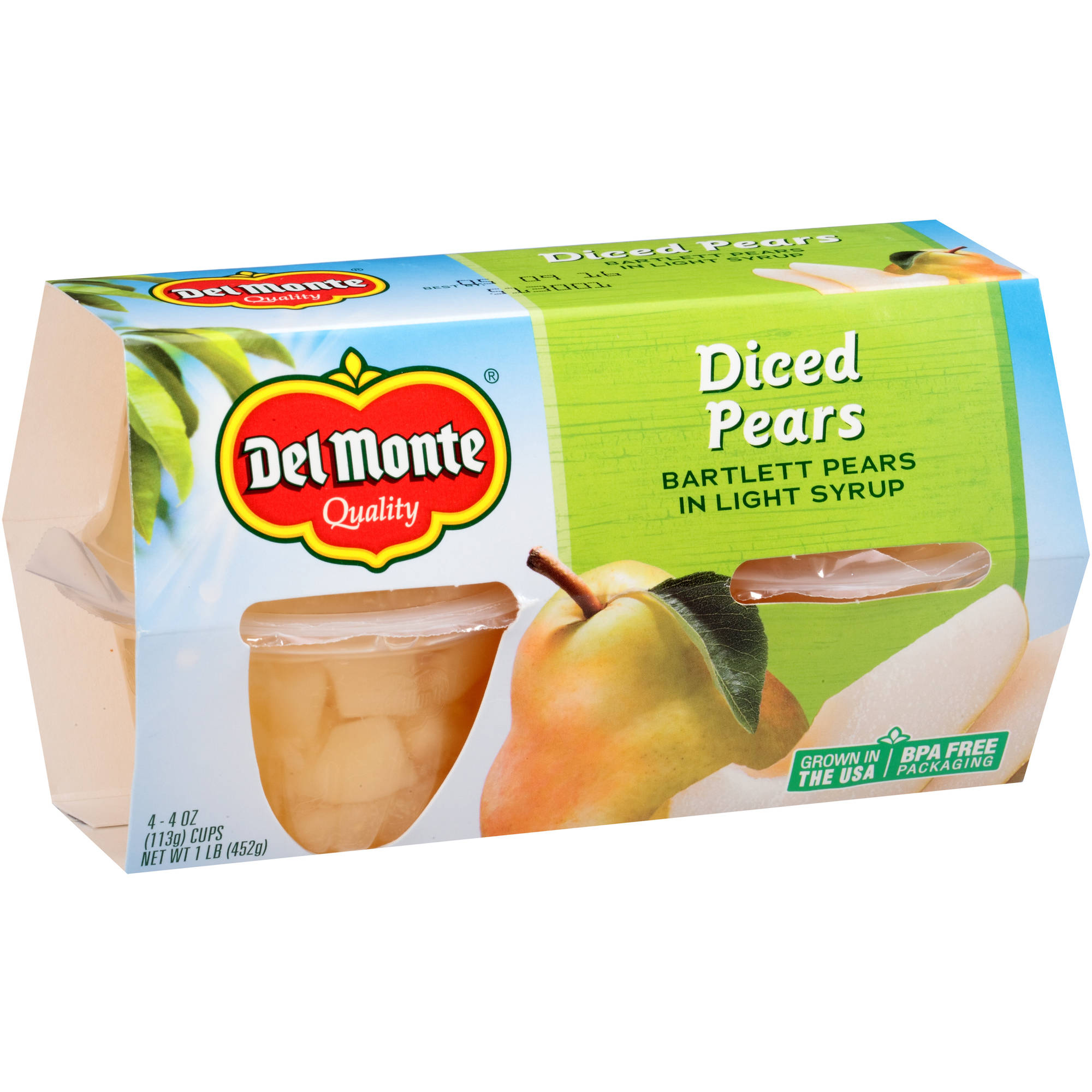Del Monte Diced Pears Bartlett Pears in Light Syrup, 4 oz, 4 count