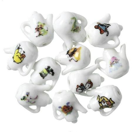 Sexy Sparkles 10 Pcs Ceramics Charms Teapot White Painted Patterns17mm - Ceramic Tea Pot