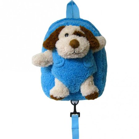 Puppy Safety Harness Leash Backpack with Removable Plush Animal - Blue