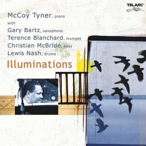 """Personnel: McCoy Tyner (piano); Gary Bartz (saxophone); Terence Blanchard (trumpet); Christian McBride (bass instrument); Lewis Nash (drums).<BR>Recording information: Avatar, New York, New York (11/18/2003 - 11/19/2003).<BR>ILLUMINATIONS finds McCoy Tyner, some 40 years after his best-known work (as a member of John Coltrane's legendary early-1960s quartet), still kicking. Tyner's energies as a session leader, composer, and ever-progressive musician haven't flagged since the mid-'60's, when the pianist started heading his own dates. On this 2004 album, as per usual, Tyner has surrounded himself with some of the finest personnel in jazz, including bassist Christian McBride, sax player Gary Bartz, and trumpeter Terence Blanchard.<BR>Tyner's music is appealing for its balance of familiar hard-bop vocabulary and intricately wrought structures--it is rhythmic and accessible, yet intellectually engaging. Tyner plays with great vigor, mixing virtuoso classical flourishes with bold chords and dazzlingly complex solos. His compositions here touch on avant-bebop (""""The Chase""""), Latin groove (""""Angelina""""), and smooth swing (the title track--on which all the musicians get a chance to stretch out). Blanchard's playing is especially notable, substantiating the melody lines in the chorus and blazing on the solos (as on """"New Orleans Stomp,"""" driven by a classic second-line beat). The high quality of music here--in conception and execution--should come as no surprise to long-time fans of Tyner or his sidemen."""