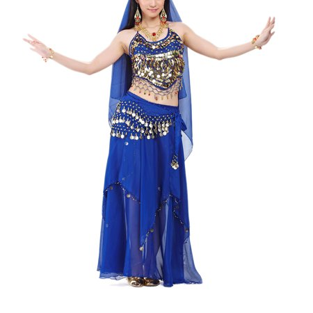 BellyLady Professional Belly Dance Costume, Halter Bra Top, Hip Scarf and Skirt-NavyBlue
