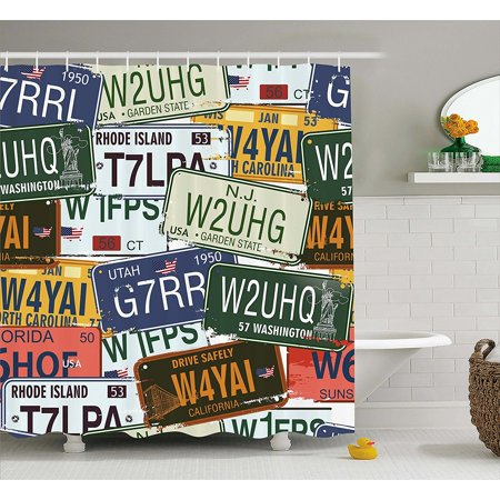 Vintage Decor Shower Curtain Set By Original Retro License Plates Personalized Gifts Creative Travel Collections Art Bathroom Accessories 75