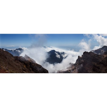 Mountain Peak Surrounded With Clouds Caldera De Taburiente National Park La Palma Canary Islands Spain Canvas Art   Panoramic Images  27 X 9