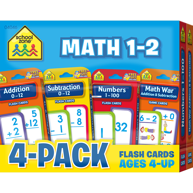 (2 PK) MATH 1-2 FLASH CARDS 4 PER PK