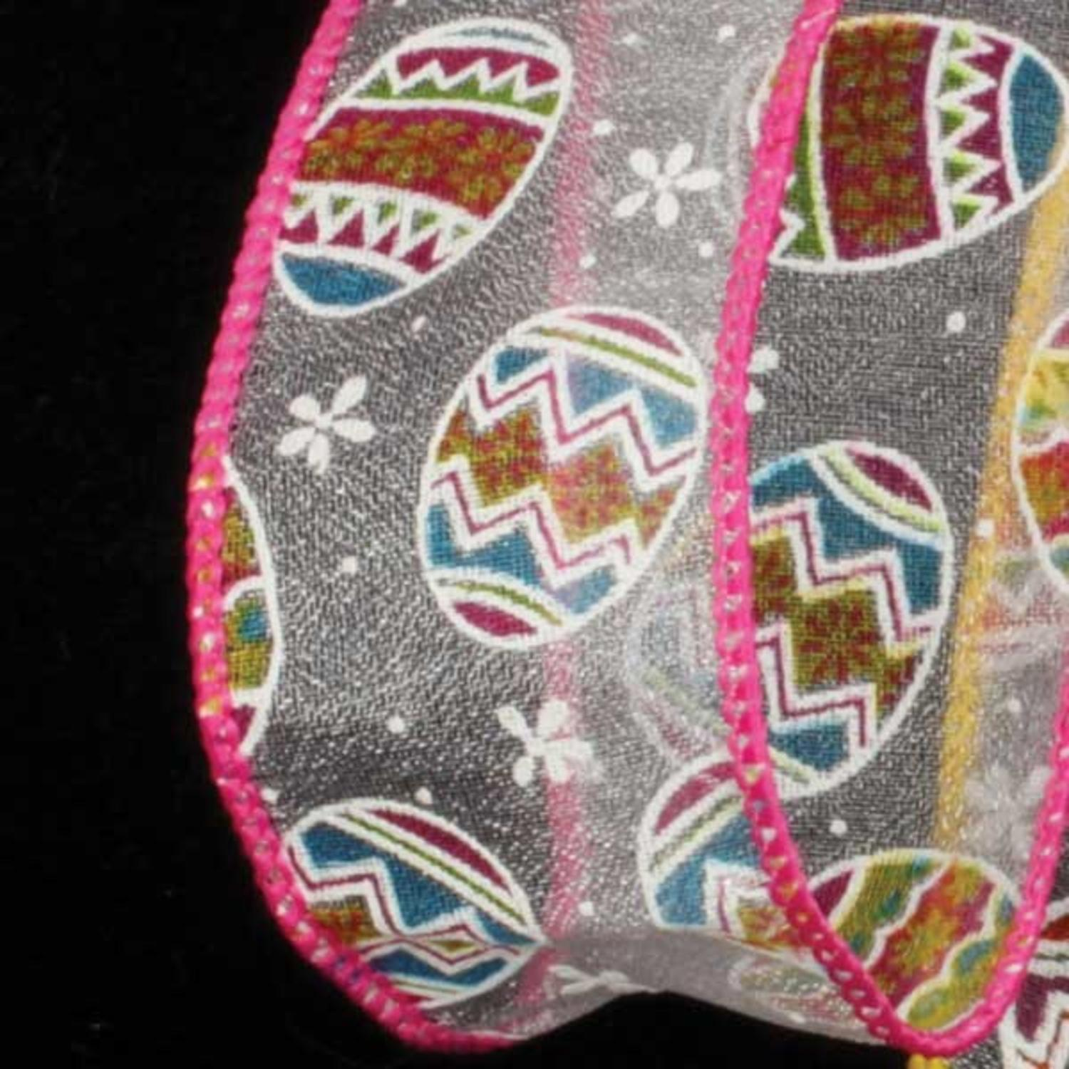 "Sheer ""Eggs""travaganza Pink Easter Wired Craft Ribbon 1.5"" x 40 Yards"