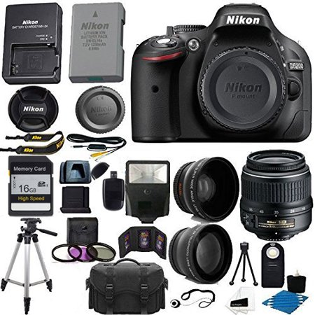 Nikon D5200 with 18-55mm, Tripod, Camera Case, Wide Angle lens, Telephoto lens, Camera, Battery,