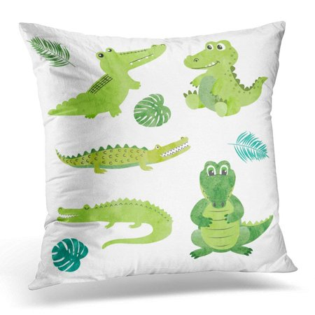 EREHome Green Cute of Watercolor Cartoon Crocodiles Alligators White Animal Pillows case 18x18 Inches Home Decor Sofa Cushion Cover - image 1 of 1