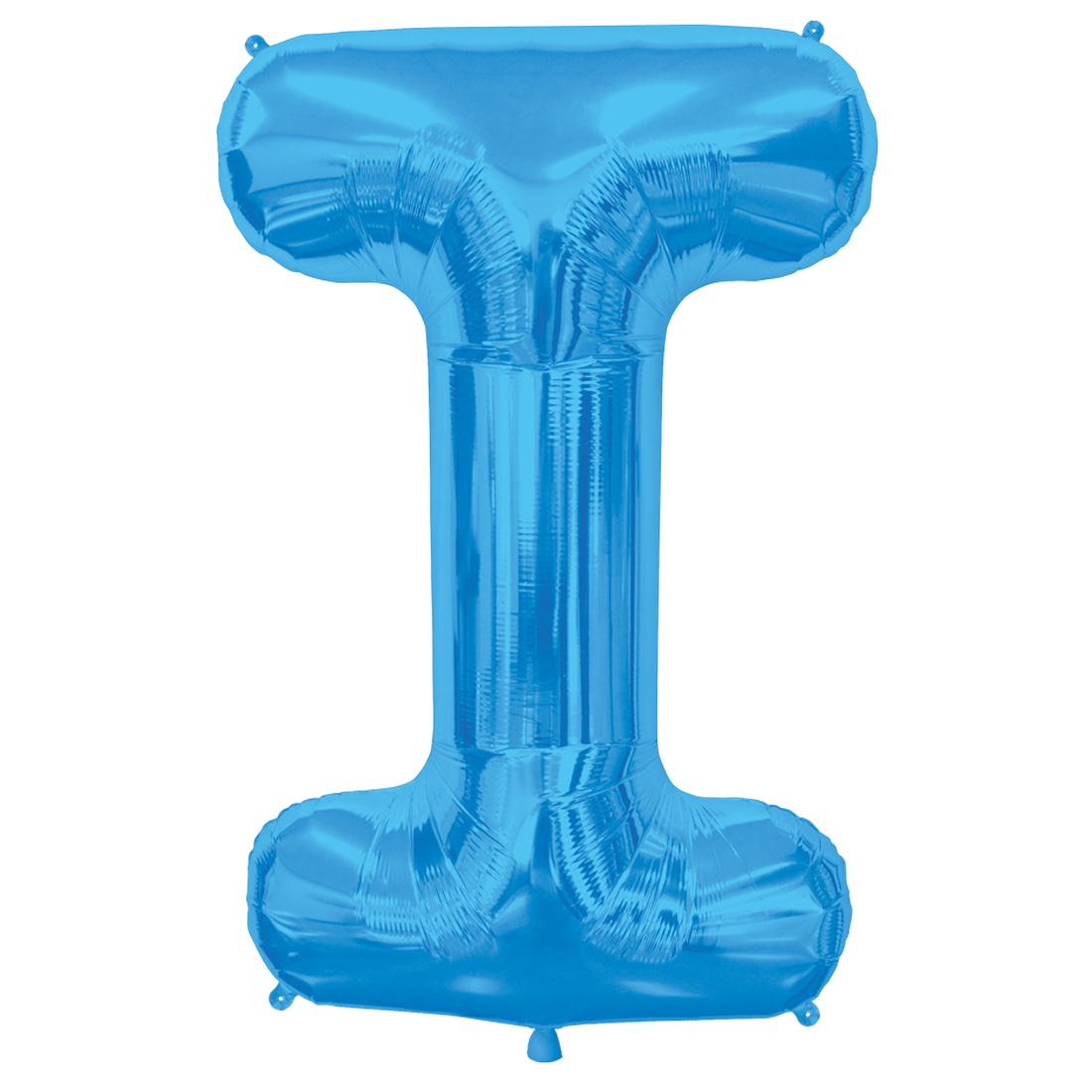 """Northstar Alphabet Letter I Shape Solid Jumbo Helium 34"""" Foil Balloon, Blue"""