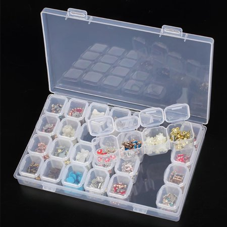 Clear Plastic 28 Slots Adjustable Jewelry Storage Box Case Bead Organizer Container