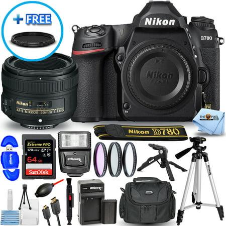 Nikon D780 DSLR Camera with 50mm f/1.8G Lens Bundle Includes: Extra EN-EL15 Battery and Charger Sandisk Extreme Pro 64GB SD, Filter Kit, Gadget Bag, Tripod and More