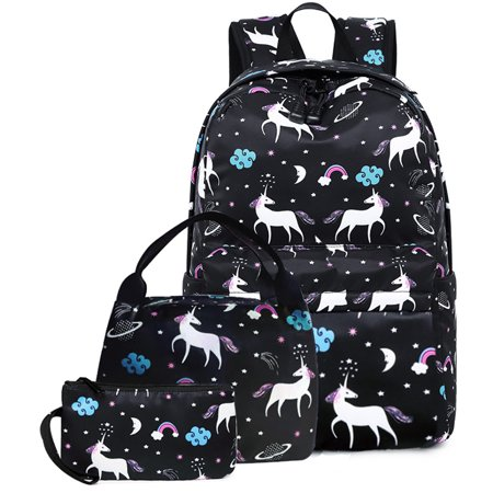 e2a9f7048d36 Unicorn Backpack, Coofit Lightweight 3PCS Nylon Cute School Backpack Travel  Bag Bookbags Set with Lunch Bag & Pencil Case Daypack for Kids Teenage ...