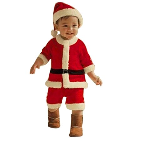 a1ce1e5bf Iuhan Toddler Kids Baby Boys Christmas Party Clothes Costume T-shirt+Pants+Hat  Outfit - Walmart.com