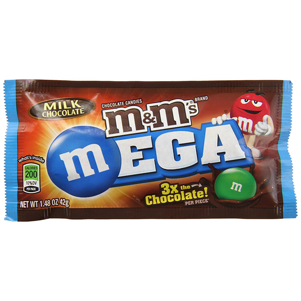 M&M's M's Mega Milk Chocolate Candies 1.4 oz Pouches - Pa...