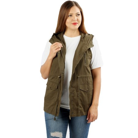 JED FASHION Women's Plus Size Cotton Safari Hooded Vest (1920s Fashion For Plus Size)