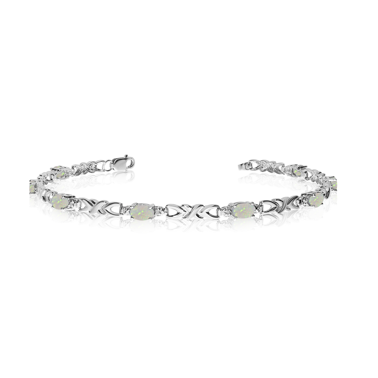 14K White Gold Oval Opal and Diamond Bracelet by
