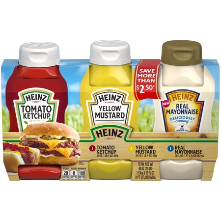 Heinz Tomato Ketchup, Yellow Mustard and Real Mayonnaise Variety Pack 3 count Box