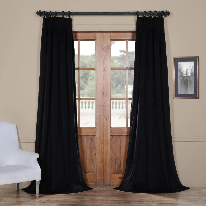"Half Price Drapes VPCH-120601-108-FP Signature Pleated Blackout Velvet Curtain, 25 x 108"", Ivory"
