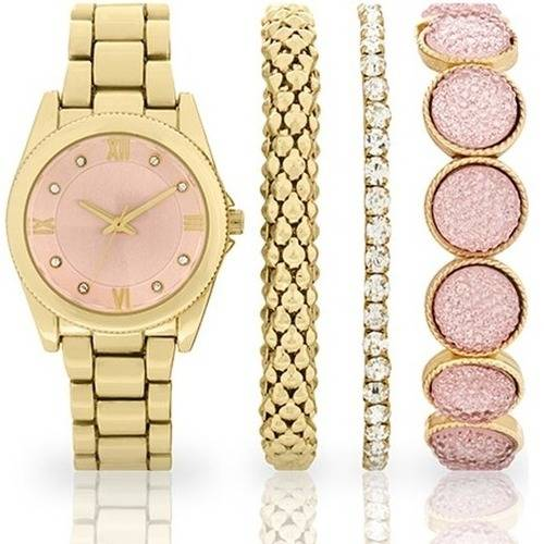 Women's Fashion Gold-Tone Watch and Multi-Bracelet Set
