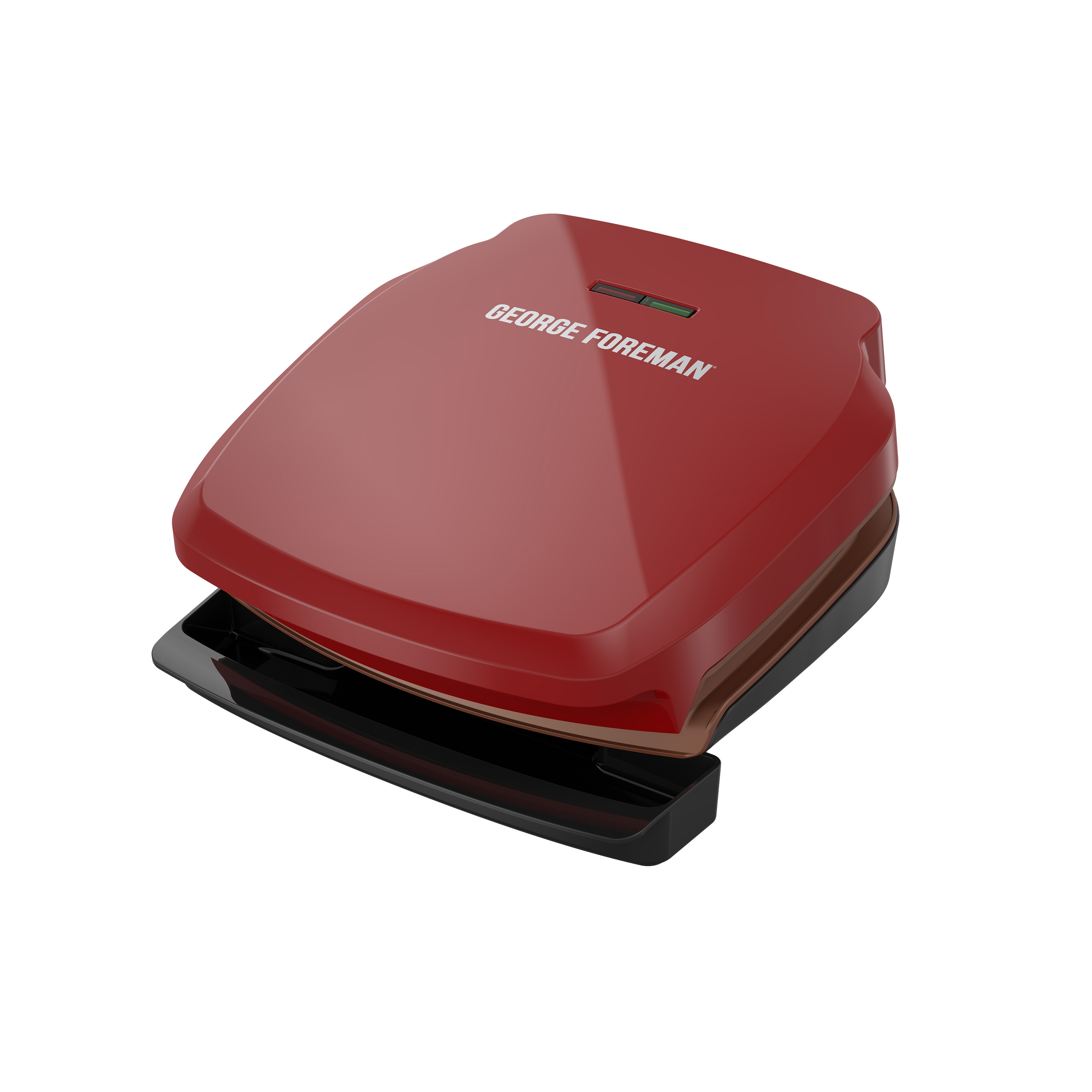 George Foreman 2-Serving Copper Infused Classic Plate Electric Indoor Grill and Panini Press, Red, GR320FRC-HP