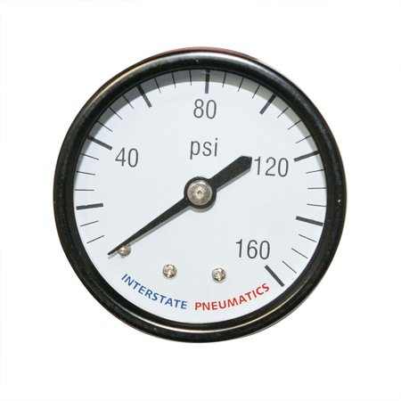 "Interstate PneumaticsG2112-160Pressure Gauge 160 PSI 2"" Diameter 1/4"" NPT Rear Mount"