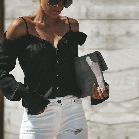 Women Fashion Blouse Long Sleeve Solid Color Strap Shirt V Neck Off Shoulder Button Up (Woke Up With Severe Neck And Shoulder Pain)