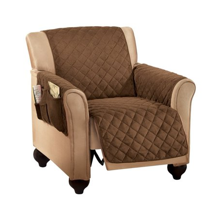 Micro Fleece Quilted Furniture Protector Cover with Pockets, Chocolate, Recliner, Protect your furniture from daily wear and tear, spills and stains! Ideal for homes.., By Collections (Fleece Recliner Cover)