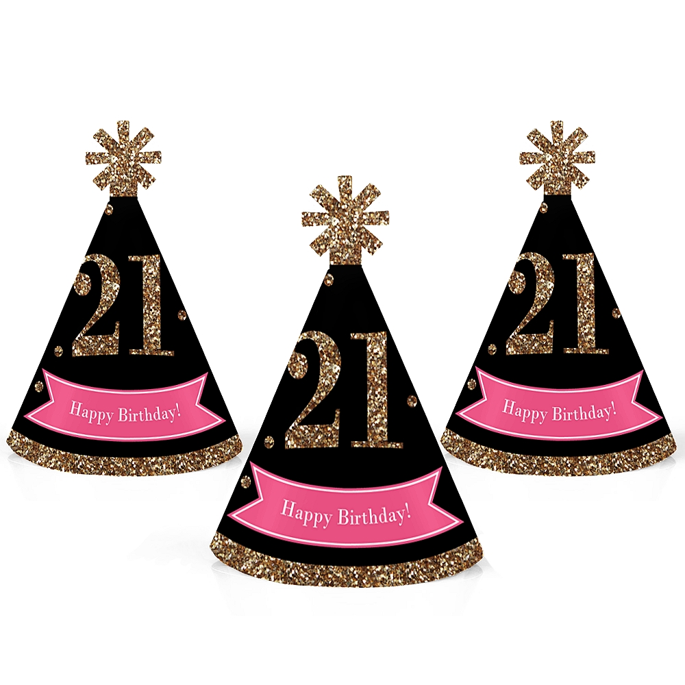 Finally 21 Girl - Mini Cone 21st Birthday Party Hats - Small Little Party Hats - Set of 10
