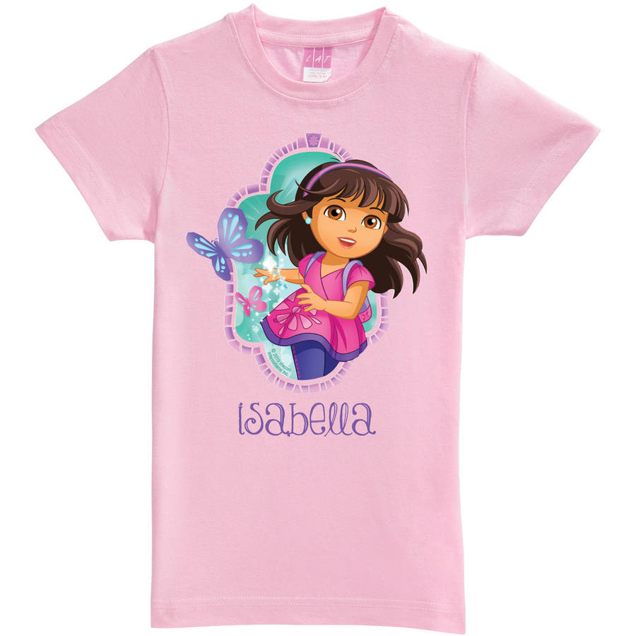 Personalized Dora and Friends Let's Go Girls' Fitted Tee, Pink