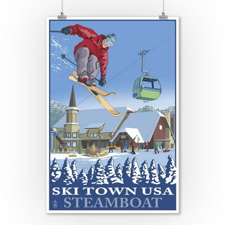 Steamboat, Colorado - Ski Town USA - Lantern Press Artwork (9x12 Art Print, Wall Decor Travel