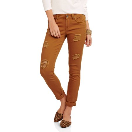 Juniors' Distressed Colored Skinny Jeans