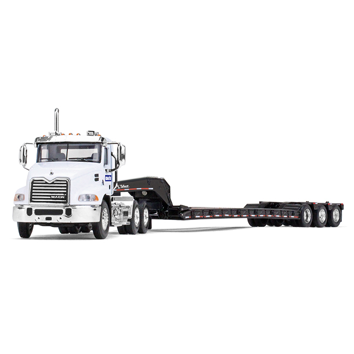 Firstgear Mack Pinnacle With Axle Lowboy Trailer Komatsu 1/64 Diecast Model Car by First Gear, Grey