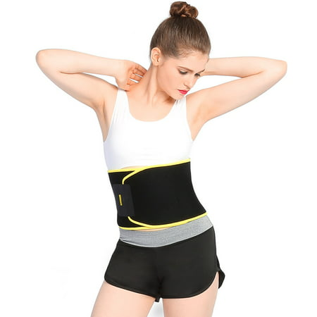 Walfront Premium Waist Trimmer Belt Slim Body Sweat Wrap for Stomach and Back Lumbar Support, Low Back and Lumbar Support with Sauna Suit Effect, Best Abdominal Trainer for