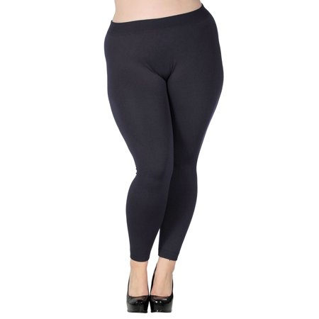 Simplicity Women Stretchy Footless Fleece Lined Leggings Plus Size Charcoal