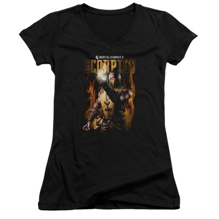 Mortal Kombat Scorpion Juniors V-Neck Shirt - Lady Scorpion Mortal Kombat