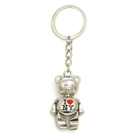 Metal I Love NY Teddy Bear Key Chain (Chain Teddy)
