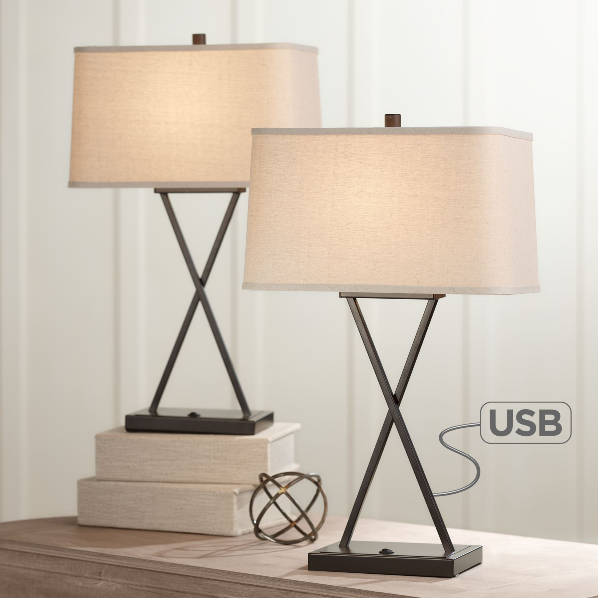 360 Lighting Modern Table Lamps Set Of 2 With Usb Charging Port Led Bronze Metal Rectangular Fabric Shade For Living Room Bedroom