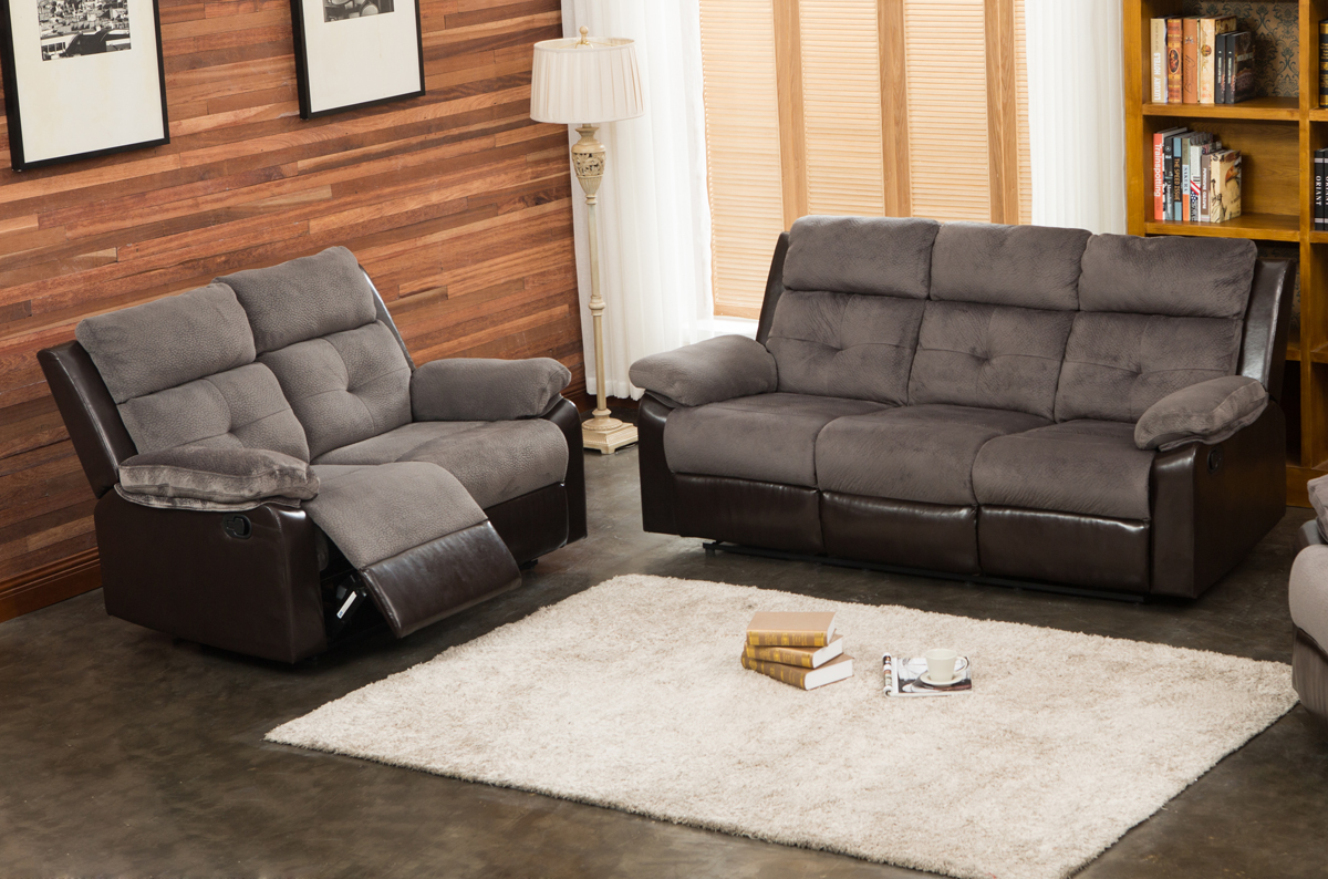 Aira 2 pc Ultra Fine Grey Thick Fabric Living Room Reclining Sofa and Loveseat set by Supplier Generic