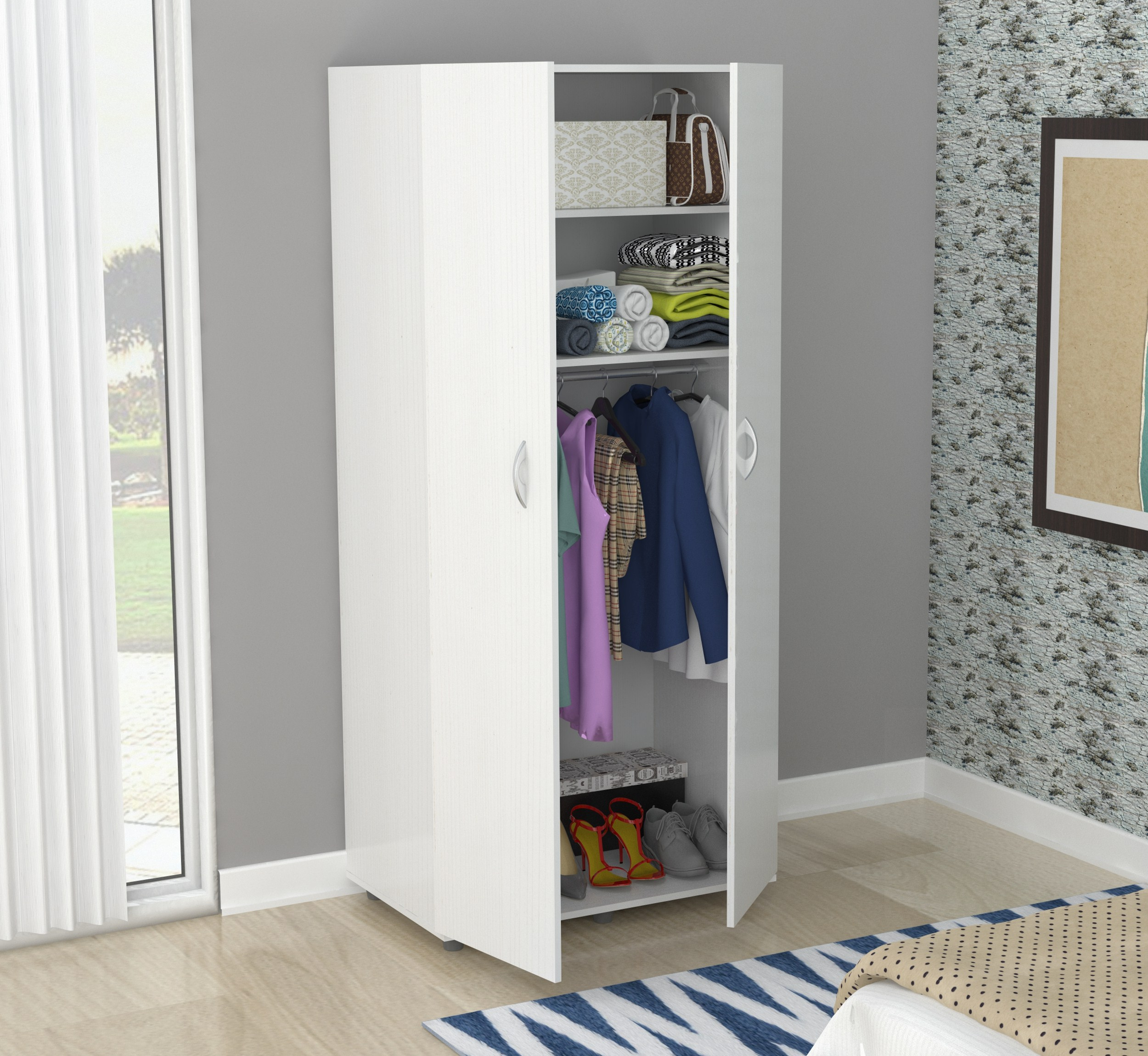 Inval Contemporary Laricina-white Two Door Wardrobe Armoire by Inval