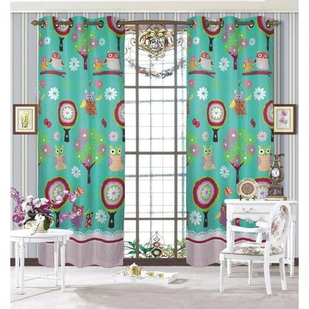 Fancy Linen 2 Panel Curtain Teens/Girls Owl Teal Green Aqua New ...