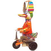 Alexander Taron Collectible Decorative Tin Toy Duck on Bike